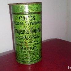 Cajas y cajitas metálicas: BOTE DE HOJALATA: CAFE - COMPAÑÍA COLONIAL. Lote 151851702