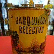 Cajas y cajitas metálicas: BARQUILLOS SELECTOS. ANTIGUA LATA RIERA OLLÉ. BARCELONA. LITO. LLAMAS. BADALONA. 21 CTMS. ALTURA. Lote 152005850