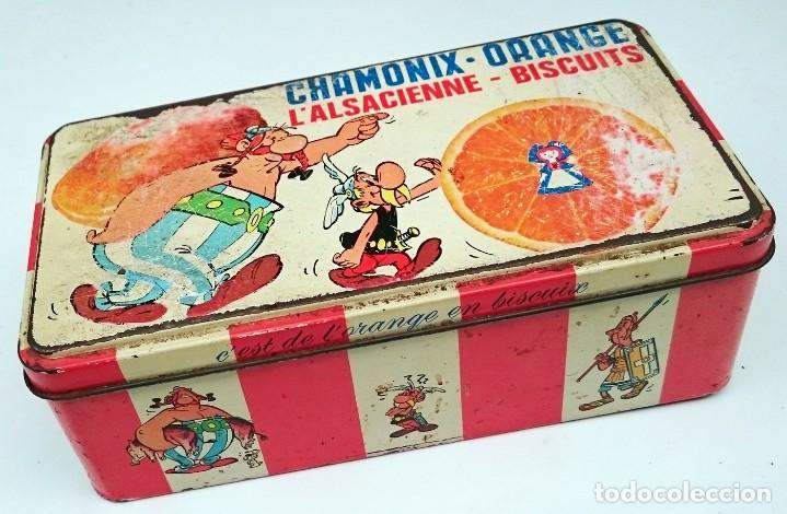 Cajas y cajitas metálicas: CAJA VACIA DE BIZCOCHOS CHAMONIX ORANGE CON ASTERIX Y OBELIX - Foto 4 - 152803394