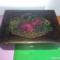 Cajas y cajitas metálicas: ANTIGUA CAJA DE MADERA JOYERO VINTAGE MODELO REGISTRADO LA ESTRELLA CG. Lote 153216214
