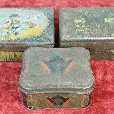 Cajas y cajitas metálicas: COLECCION DE 3 CAJAS DE HOJALATA. SERIGRAFIADAS. ESPAÑA. SIGLO XIX-XX. . Lote 154933986