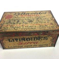 Cajas y cajitas metálicas: CAJA DE METAL LITINOIDES SERRA LA MEJOR AGUA DE MESA. Lote 155683770