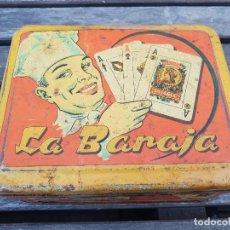 Cajas y cajitas metálicas: ANTIGUA CAJA METALICA LA BARAJA DE COLOR ROJA - AZAFRANES, ADITIVOS Y ESPECIAS -. Lote 155826834