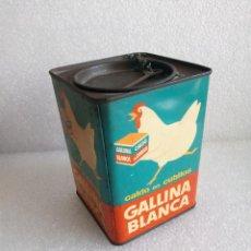 Cajas y cajitas metálicas: GALLINA BLANCA: ANTIGUA Y DECORATIVA CAJA DE HOJALATA LITOGRAFIADA AÑOS 40-50. Lote 155962174