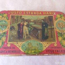 Cajas y cajitas metálicas: RARÍSIMA CAJA HOJALATA DE DULCE DE MEMBRILLO DE JUSTO ESTRADA. HARO PUENTE GENIL (CORDOBA).. Lote 155967058