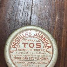Cajas y cajitas metálicas: CAJA PASTILLAS JUANOLA AÑOS 20. Lote 156113796
