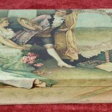 Cajas y cajitas metálicas: CAJA DE CARTONÉ LITOGRAFÍA. ESCENA GALANTE. FRANCIA. SIGLO XIX-XX. . Lote 156809622