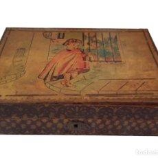 Cajas y cajitas metálicas: ANTIGUA CAJA DE ESCUELA, NIÑOS HABLANDO EN LA VERJA.. Lote 56019731