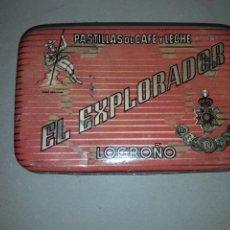 Cajas y cajitas metálicas: LATA PASTILLAS DE CAFE EL EXPLORADOR LOGROÑO LA RIOJA. Lote 159511990