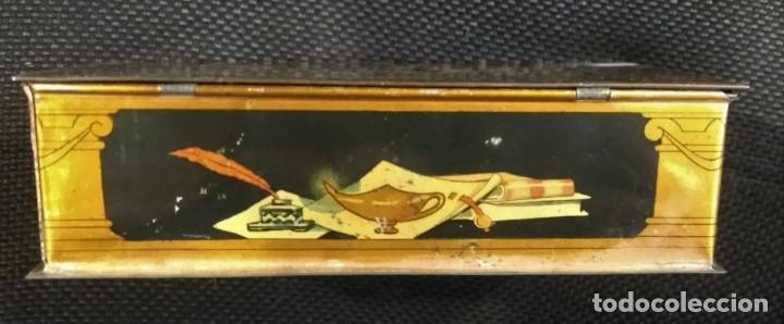 Cajas y cajitas metálicas: CAJA DE HOJALATA LITOGRAFIADA CON PUBLICIDAD DE ALMENDRAS DE ALCALA DE HENARES, SALINAS UNIVERSIDAD - Foto 3 - 159549350
