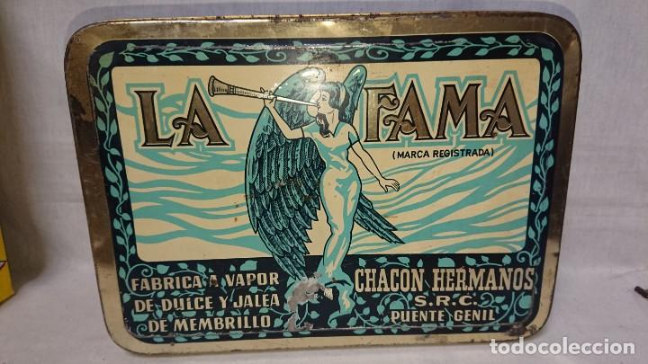 ANTIGUA CAJA METÁLICA DULCE DE MEMBRILLO LA FAMA - CHACON HERMANOS - PUENTE GENIL (Coleccionismo - Cajas y Cajitas Metálicas)