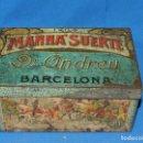 Cajas y cajitas metálicas: (M) CAJA LITORGRAFIA MANNA'SUERTE DR. ANDREU BARCELONA , LA SURTIJA , ELS TRES TOMPS. Lote 159972614