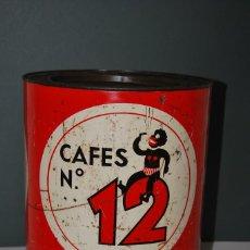 Cajas y cajitas metálicas: RARA LATA DE CAFÉS NÚMERO 12 - VALLADOLID - GRAN TAMAÑO - AÑOS 50-60. Lote 160078398