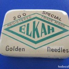Cajas y cajitas metálicas: ELKAH , SPECIAL GOLDEN NEEDLES - CAJITA METALICA DE GRAMOFONO CON AGUJAS. Lote 160393098