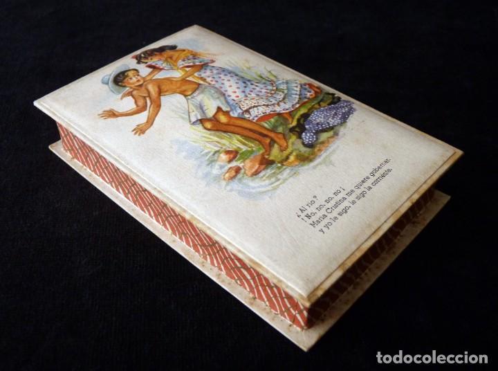 ANTIGUA Y BONITA CAJA DE CARTÓN DE CONFITERÍA, CON POSTAL FOLCLÓRICA, 13,5X9X3 CM. AÑOS 40 (Coleccionismo - Cajas y Cajitas Metálicas)