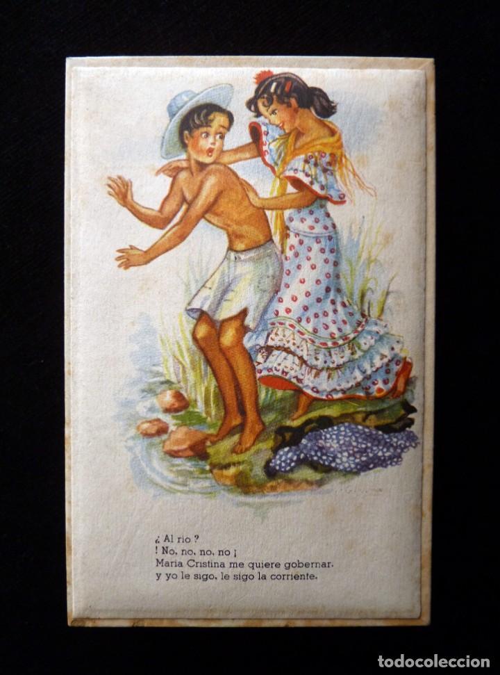 Cajas y cajitas metálicas: ANTIGUA Y BONITA CAJA DE CARTÓN DE CONFITERÍA, CON POSTAL FOLCLÓRICA, 13,5x9x3 cm. AÑOS 40 - Foto 2 - 161329282
