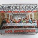 Cajas y cajitas metálicas: ANTIGUA LATA DULCE MEMBRILLO LOS APOSTOLES CAMPAÑA 65-66. Lote 161945418