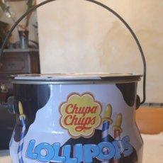 Cajas y cajitas metálicas: RARA LATA BOTE Y TAPA METAL CHUPA CHUPS LITOGRAFIADA GONDOLERO VINTAGE POP ART. Lote 162009993