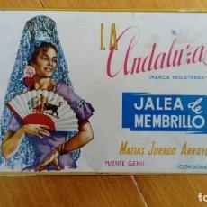 Cajas y cajitas metálicas: CAJA DE LATA JALEA DE MEMBRILLO LA ANDALUZA. MATIAS JURADO ARROYO. PUENTE GENIL, CÓRDOBA.1970/71.. Lote 163499306