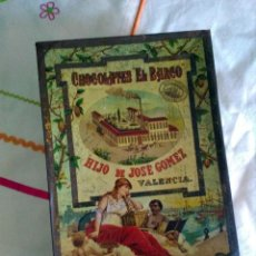 Cajas y cajitas metálicas: CAJA DE LATA MUY ANTIGUA S.XIX CHOCOLATES EL BARCO VALENCIA. Lote 163561762