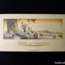 Cajas y cajitas metálicas: ANTIGUA CAJA DE CARTÓN VACÍA, JABÓN DE LAVANDA, MYRURGIA. Lote 163649250