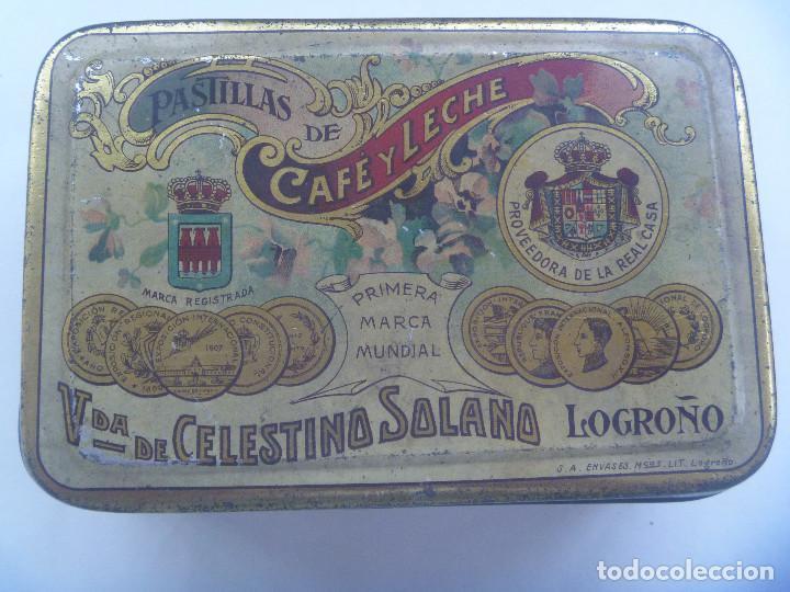 CAJA DE METAL DE PASTILLAS DE CAFE CON LECHE DE SOLANO, LOGROÑO. PRINCIPIOS DE SIGLO (Coleccionismo - Cajas y Cajitas Metálicas)
