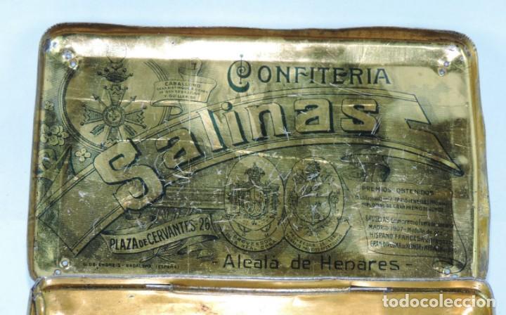 Cajas y cajitas metálicas: CAJA DE HOJALATA LITOGRAFIADA CON PUBLICIDAD DE CONFITERIA SALINAS, ALCALA DE HENARES, MADRID, PRECI - Foto 5 - 164532126