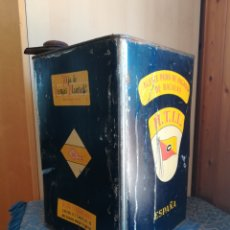 Cajas y cajitas metálicas: ACEITE HIGADO BACALAO 10 LIT HIJA DE TOMÁS LLAURADÓ C/GALERA 12 GALIÓ 16-18 REUS H.T.LL FUNDADA 1795. Lote 165062182