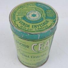 Cajas y cajitas metálicas: CAJA LITOGRAFIADA DEL DOCTOR CEA, VALLADOLID, FARMACIA, VENDA ENYESADA, MIDE 10 X 6,5 CMS.. Lote 166098426