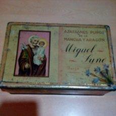 Cajas y cajitas metálicas: CAJA METÁLICA AZAFRÁN MIGUEL SUÑER - VER FOTOS. Lote 166201274