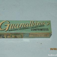 Cajas y cajitas metálicas: ANTIGUA CAJA DE FARMACIA MEDICINA TUBO CON TABLETAS GUANALBINA DE LABORATORIOS DIEZ. Lote 166451450