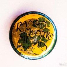 Cajas y cajitas metálicas: ORIHUELA (ALICANTE). R. MONTERO. CAJITA PARA MUESTRAS DE PIMENTÓN. DIÁMETRO. 5,5 CM. ALTO 1,6 CM.. Lote 166952386