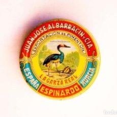 Cajas y cajitas metálicas: ESPINARDO (MURCIA). ALBARRACIN. CAJITA PARA MUESTRAS DE PIMENTÓN. DIÁMETRO. 5,5 CM. ALTO 1,6 CM.. Lote 166952890