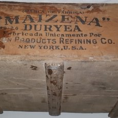 Cajas y cajitas metálicas: ANTIGUA CAJA MADERA MAIZENA DURYEA NEW YORK USA. Lote 167740592