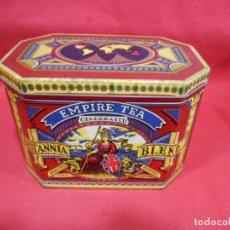 Cajas y cajitas metálicas: BONITA CAJA DE TE INGLESA DE CHAPA LITOGRAFIADA. Lote 167970976