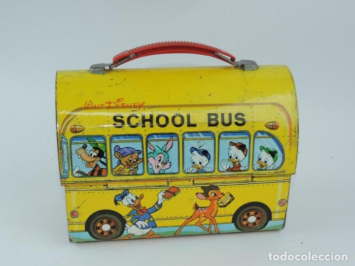 Cajas y cajitas metálicas: Antigua Cabás School bus de Walt Disney, lunch box. Payva, de Pascual y Valls S.L., Ibi, Alicante, - Foto 3 - 168773144