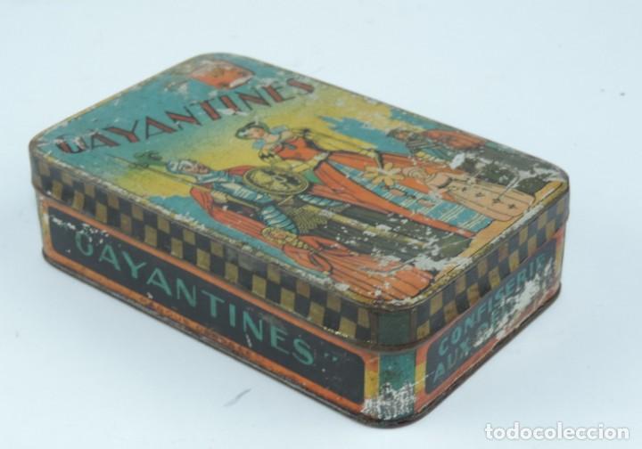 Cajas y cajitas metálicas: CAJA DE HOJALATA LITOGRAFIADA CON PUBLICIDAD DE CONFISERIE AUX DELICES, GAYANTINES, MIDE 16 X 10 X 4 - Foto 2 - 168774044