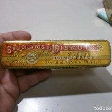 Cajas y cajitas metálicas: CAJA DE FARMACIA SALICATOS DE BISMUTO VIVAS PEREZ MIDE 15X4X3,5. Lote 170107904