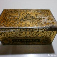 Cajas y cajitas metálicas: APRECIADA CAJA DE CHAPA ALMIDON REAL ARROZ MIRAT E HIJO SALAMANCA MIDE 12X7X5,5. Lote 170109648
