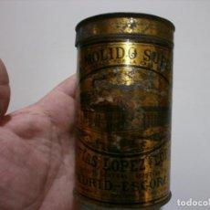 Cajas y cajitas metálicas: APRECIADA CAJA DE CHAPA CAFE MOLINO SUPERIOR MATIAS LOPEZ MADRID ESCORIAL MIDE 12,5X7,5. Lote 170112096