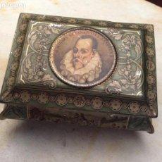 Cajas y cajitas metálicas: CAJA DE HOJALATA LITOGRAFIADA SALINAS ALMENDRAS DE ALCALÁ. Lote 170429432