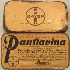 Cajas y cajitas metálicas: ANTIGUA CAJITA CAJA LATA PANFLAVINA DE BAYER PASTILLAS DESINFECCIÓN BUCAL Y FARINGEA . Lote 171178825