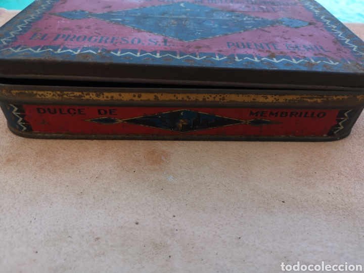 Cajas y cajitas metálicas: Antigua caja de lata de dulce de membrillo y jalea Puente Genil - Foto 2 - 171247840