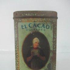 Cajas y cajitas metálicas: ANTIGUA CAJA LITOGRAFIADA - HOJALATA - EL CACAO HOLANDÉS BENSDORF, AMSTERDAM - AÑOS 20. Lote 171527163