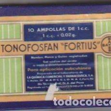 Cajas y cajitas metálicas: TONOFOSFAN FORTIUS DE BAYER. REGISTRADO EL 21-9-1938. Lote 171985843
