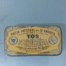 Cajas y cajitas metálicas: CAJA DE HOJALATA LITOGRAFIADA PASTA PECTORAL DEL DR. ANDREU. Lote 173027304