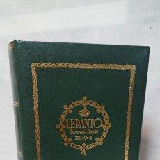 Cajas y cajitas metálicas: CAJA CON FORMA DE LIBRO VACÍA DE COÑAC LEPANTO. Lote 173515552