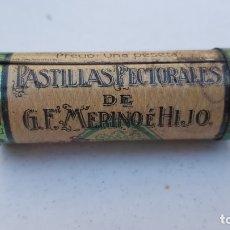 Cajas y cajitas metálicas: LEON - CAJITA DE LATA CILINDRICA PASTILLAS PECTORALES G.F. MERINO E HIJOS.. Lote 173727699