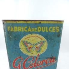 Cajas y cajitas metálicas: GRAN CAJA DE HOJALATA LITOGRAFIADA POR G. COLOREU, BARCELONA, FABRICA DE DULCES, BARCELONA, CONSERVA. Lote 175480682