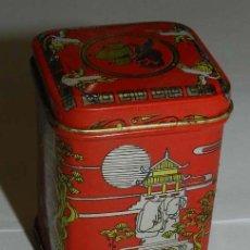 Cajas y cajitas metálicas: CAJA DE HOJALATA LITOGRAFIADA DE GREEN TEA, CON MOTIVOS ASIATICOS. MIDE 6 X 4,5 CMS.. Lote 176063747